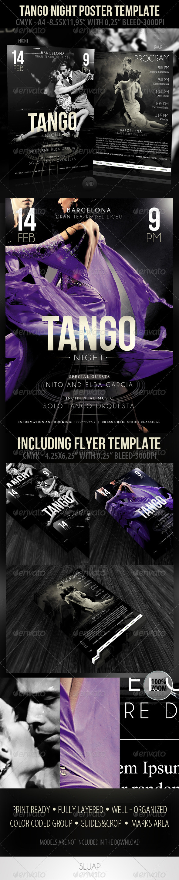 Tango Night Poster Template & Tango Night-Flyer Te - Events Flyers