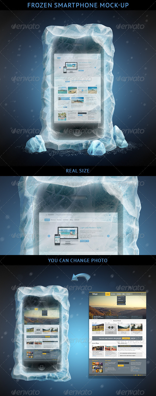 Frozen Smartphone Mockup - Mobile Displays