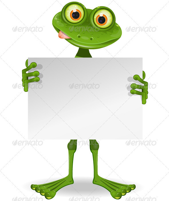 Frog with a White Paper - Animals Characters