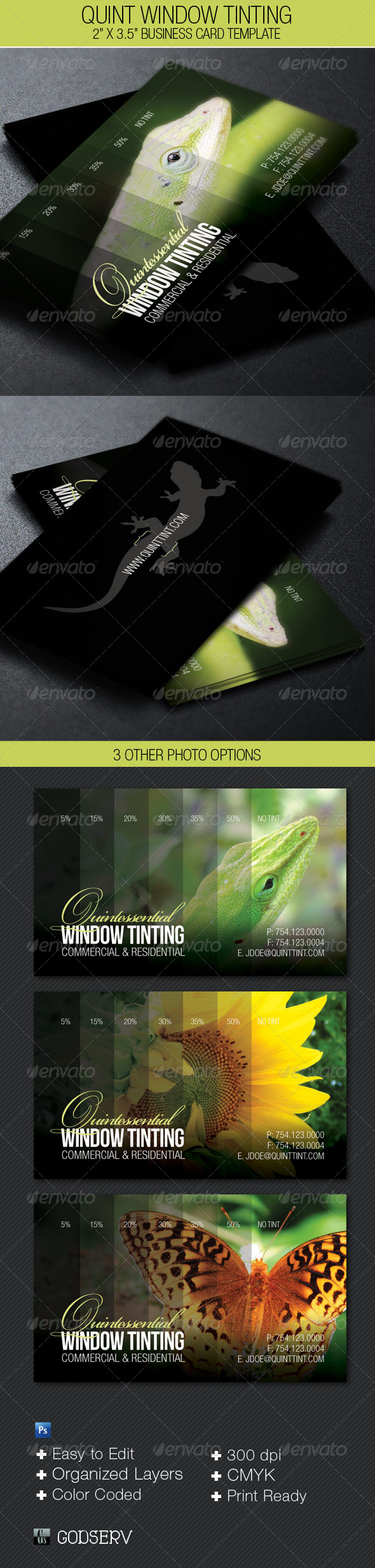 Window Tinting Business Card Template - Industry Specific Business Cards