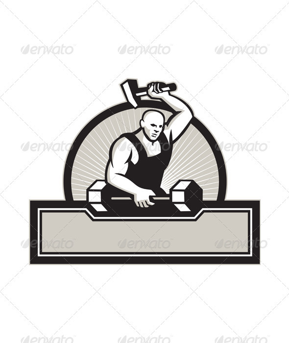 Blacksmith With Hammer Striking Barbell - People Characters