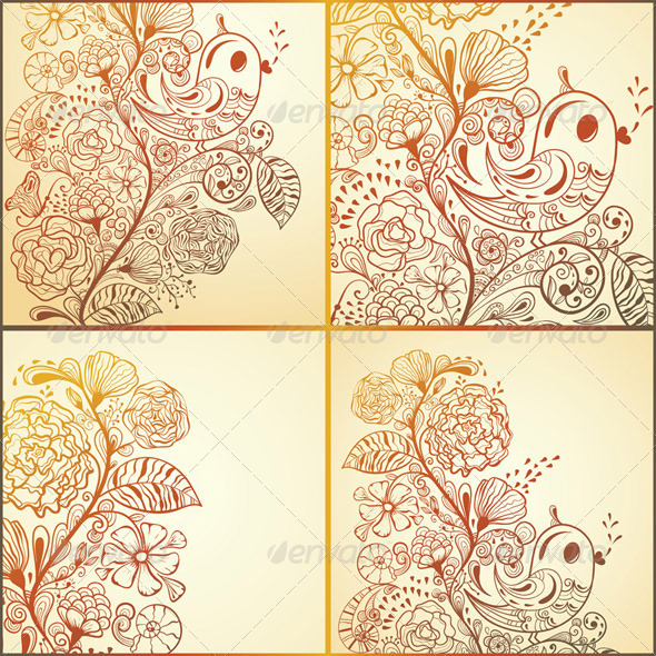 4 Vector  Spring Cards - Seasons/Holidays Conceptual