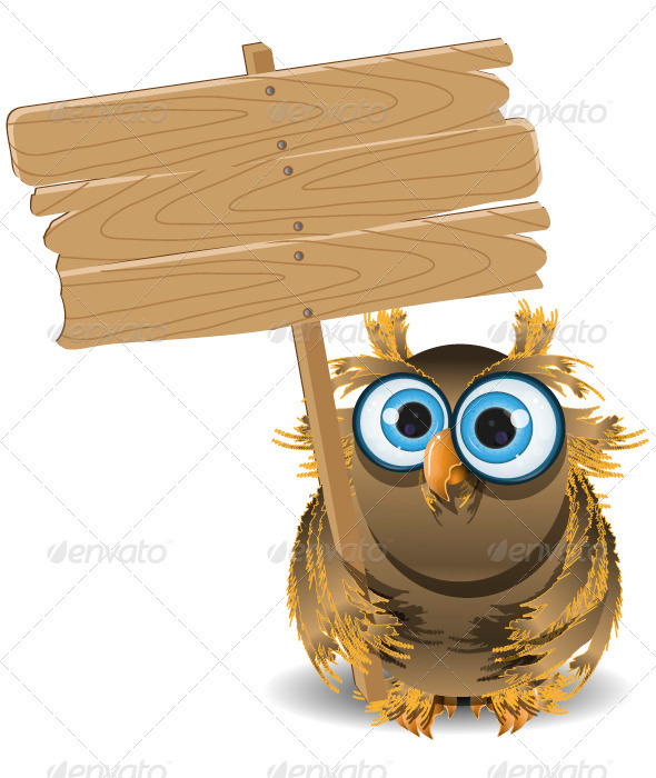owl and a wooden plaque - Animals Characters