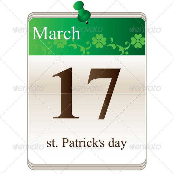 St Patricks Day Calendar - Seasons/Holidays Conceptual