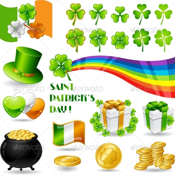 Collection illustrations of Saint Patrick's Day. - Decorative Symbols Decorative