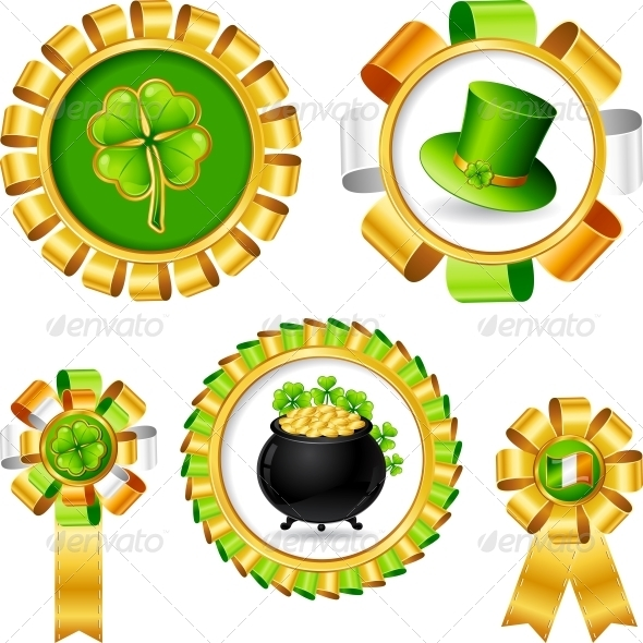 Award ribbons with Saint Patrick's day objects. - Christmas Seasons/Holidays