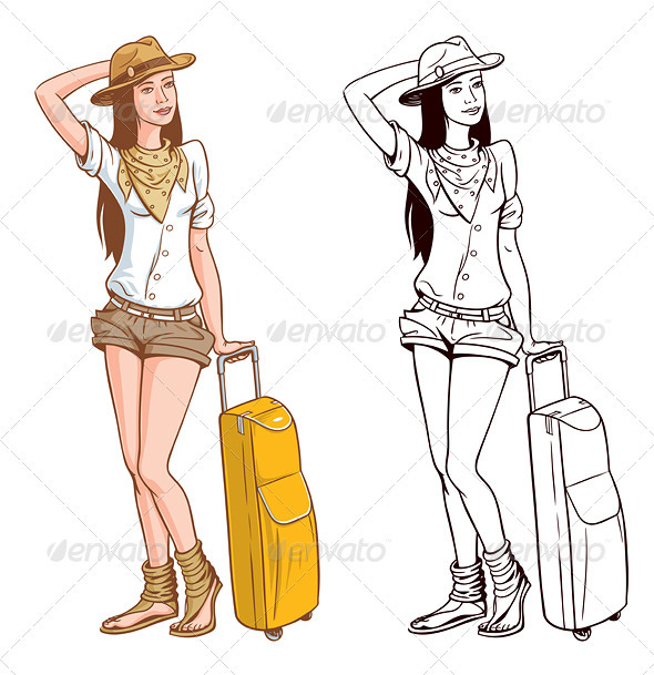Tourist Woman With A Bag - People Characters