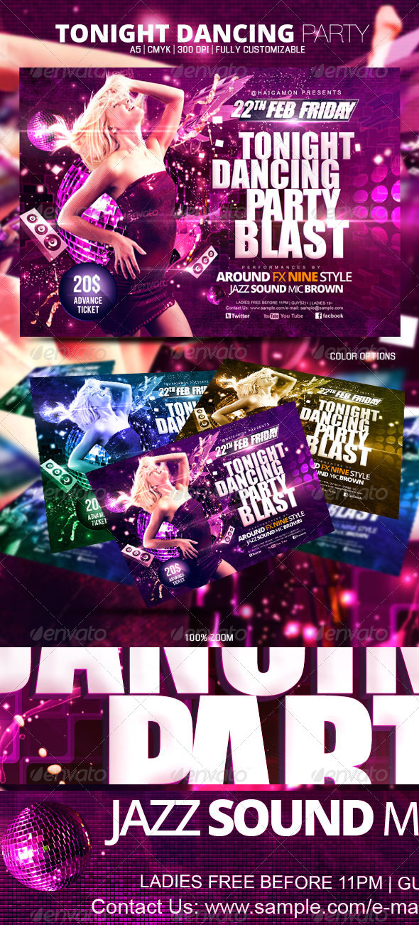 Tonight Dancing Party Flyer - Clubs & Parties Events