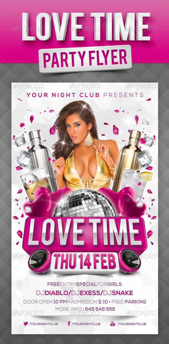 Love Time Party Flyer - Events Flyers