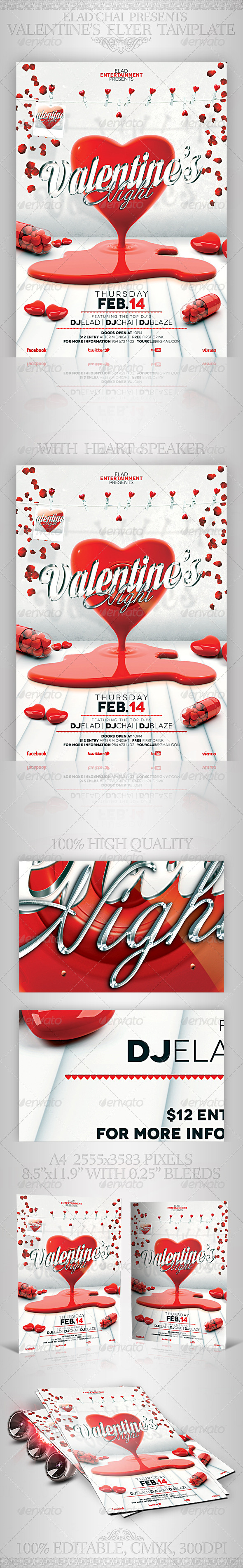 2014 Valentine's Day A4 Flyer Poster Template - Holidays Events