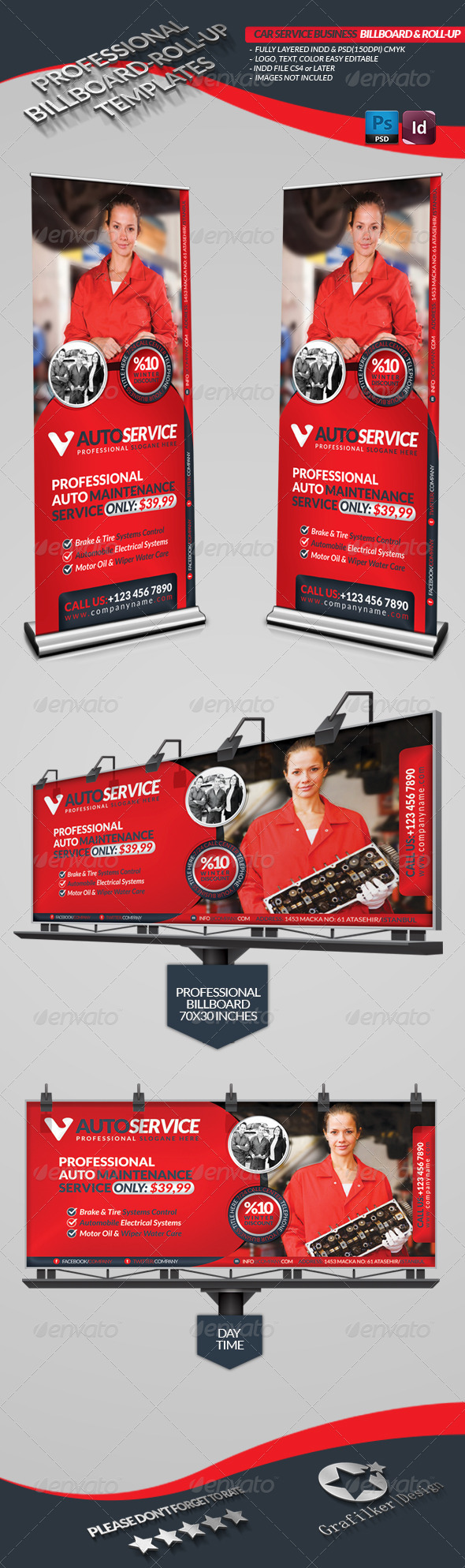 Automobile Service Billboard & Roll-Up - Signage Print Templates