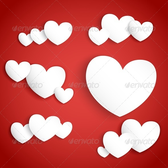 White Paper Hearts on Red Background - Valentines Seasons/Holidays