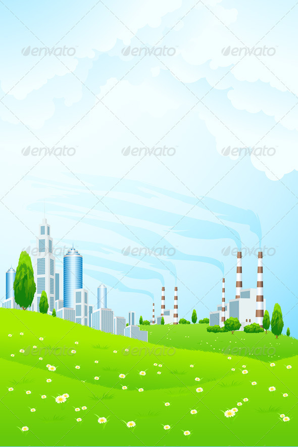 Green Landscape with City and Power Plant - Backgrounds Business