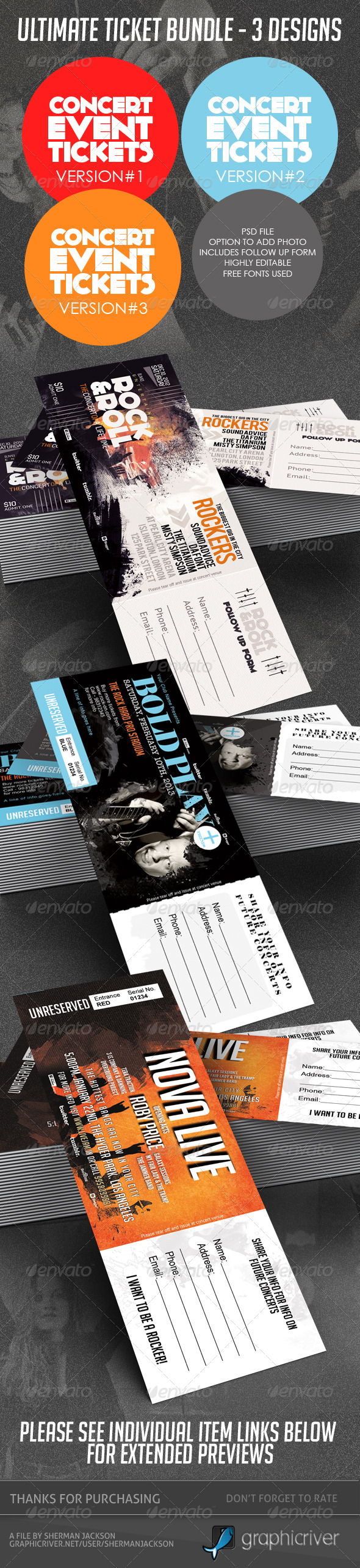 Concert & Event Tickets/Passes - BUNDLE (3in1) - Certificates Stationery