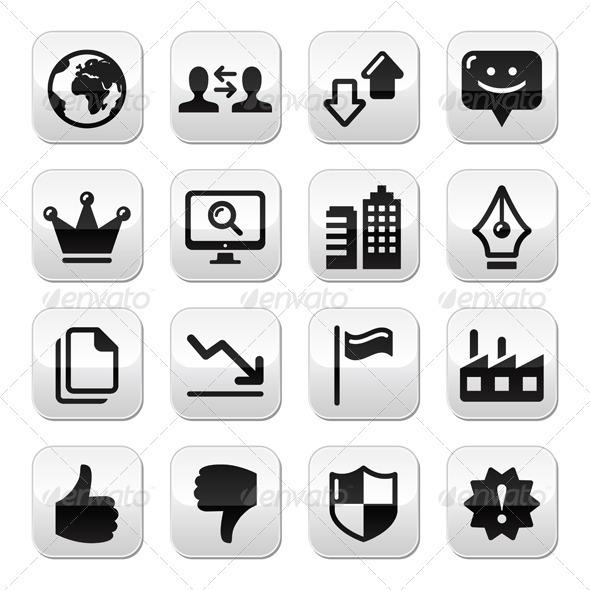 Web Internet Buttons Set - Vector - Web Technology