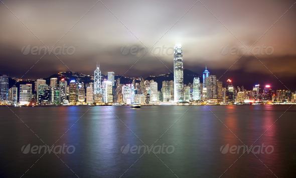 Hong Kong at night - Stock Photo - Images