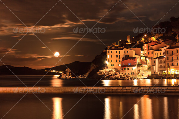 View of Marciana Marina in night - Stock Photo - Images