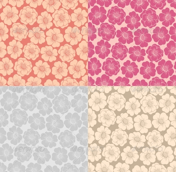 Seamless Background with Flowers - Patterns Decorative