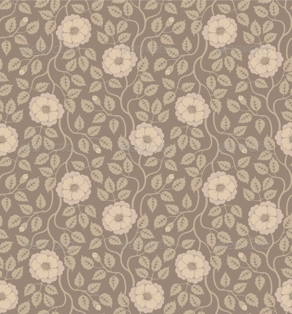 Seamless Floral Background with Flowers and Leaves - Patterns Decorative