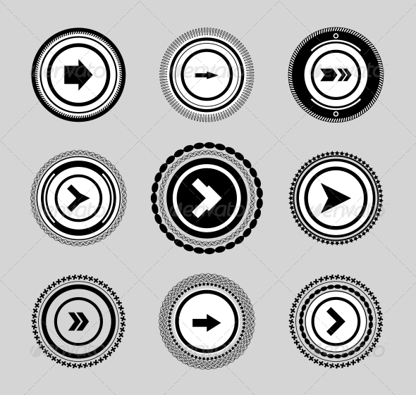 Vintage Set of Labels and Badges Arrows - Web Elements Vectors