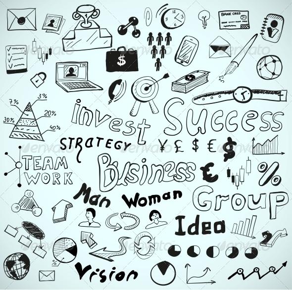 Vector Tablet-Drawn Vector Doodles: Business Theme - Web Elements Vectors