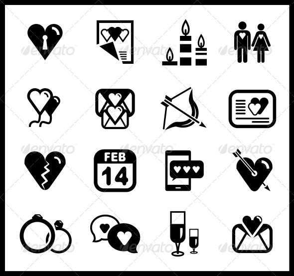 Vector Set of Valentine's Day and Love Icons - Valentines Seasons/Holidays