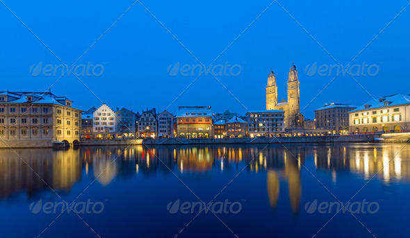 Zurich and the Limmat river at night - Stock Photo - Images