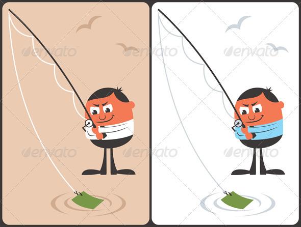 Businessman Fishing Concept - Concepts Business