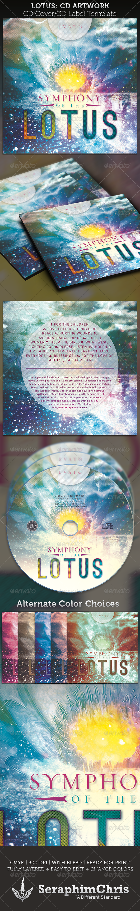 Symphony of the Lotus: CD Cover Artwork Template - CD & DVD Artwork Print Templates