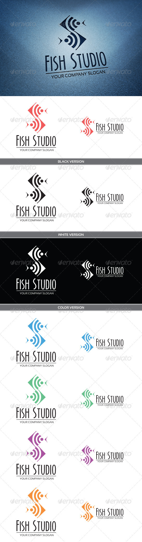 Fish Studio Logo - Animals Logo Templates