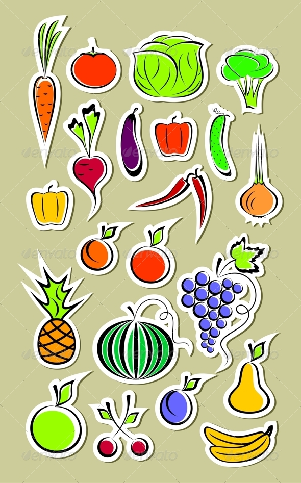 Stickers of Vegetables and Fruits - Food Objects