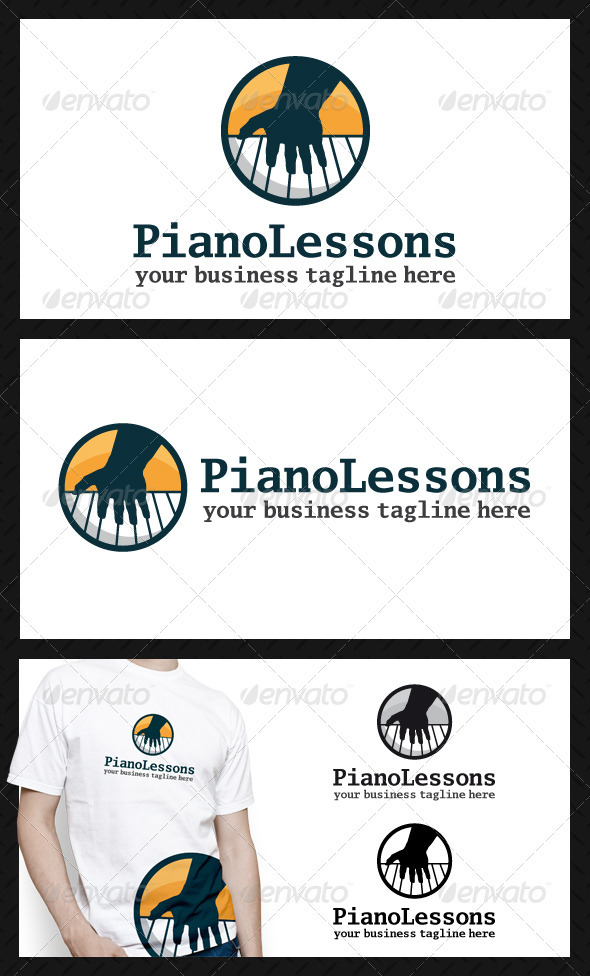 Piano Lessons Logo Template - Vector Abstract
