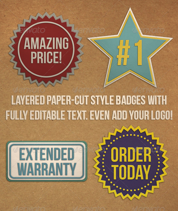 Editable Paper Cut Badges - Badges & Stickers Web Elements