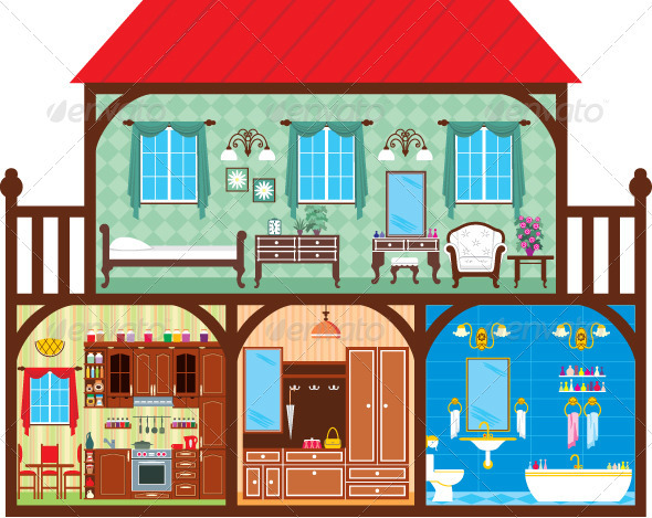 House in a Cut which Depicts the Living Rooms. - Buildings Objects