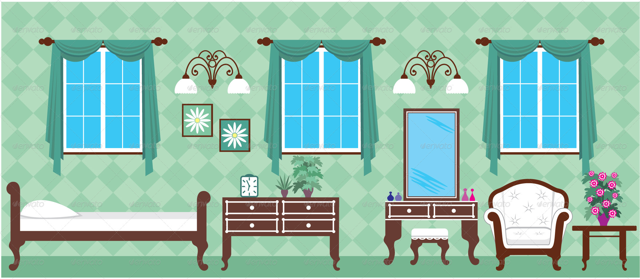 House in a cut which depicts the living rooms by gurzzza for Wohnzimmer clipart
