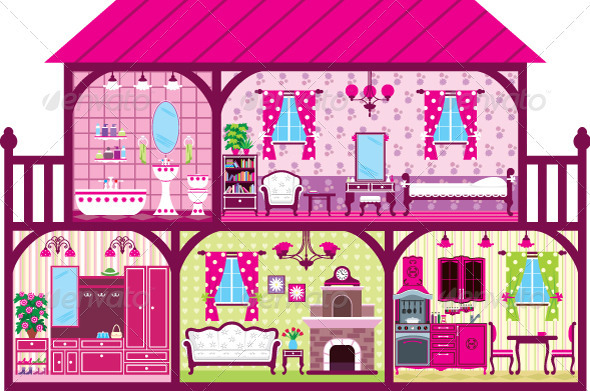 House for the Girl in a Cut in Pink. - Buildings Objects