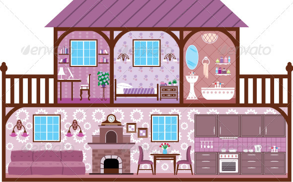 The Image of Rooms of a House with Design Elements - Characters Vectors