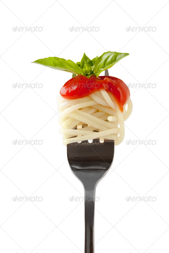 Spaghetti with sauce and parmesan cheese on a fork - Stock Photo - Images