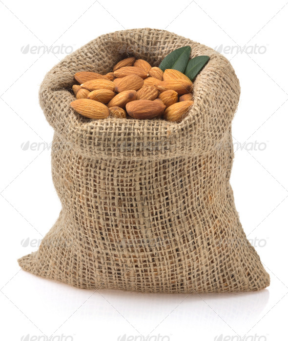 nuts almond isolated on white - Stock Photo - Images