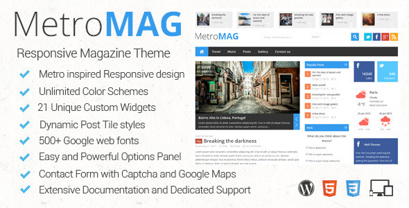 Metro Magazine Responsive WordPress Theme
