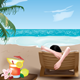 Girl on Deckchair - GraphicRiver Item for Sale