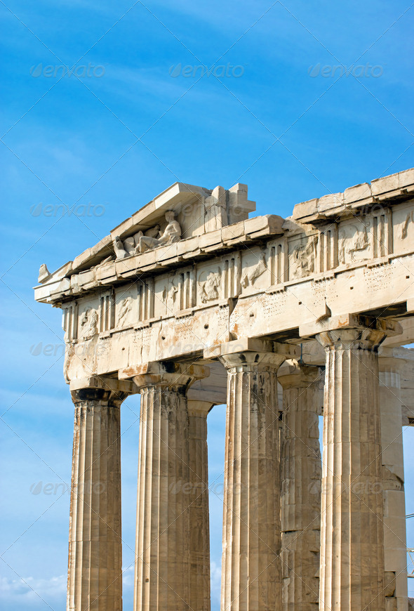 Part of the Parthenon in Athen - Stock Photo - Images