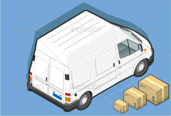 Isometric White Van and Some Packs - Miscellaneous Vectors