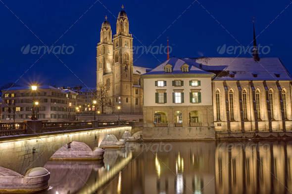 The river and the Minster in Zurich - Stock Photo - Images