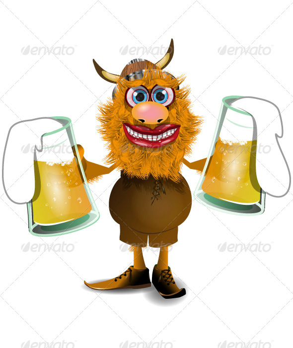 viking with beer - People Characters