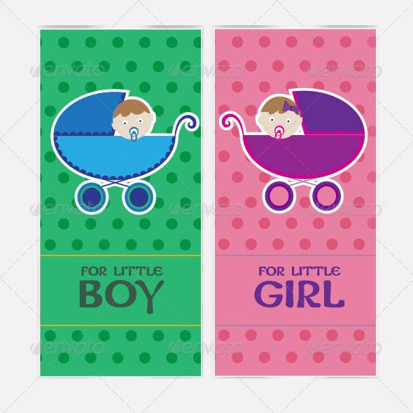 Baby boy invitation card, vector illustration - Backgrounds Decorative