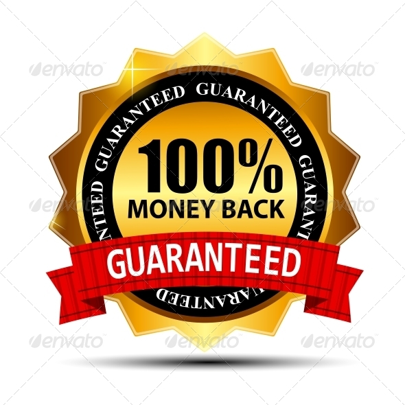 Vector money back guarantee gold sign, label - Concepts Business