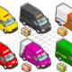 Isometric Delivery Van in Six Livery - GraphicRiver Item for Sale