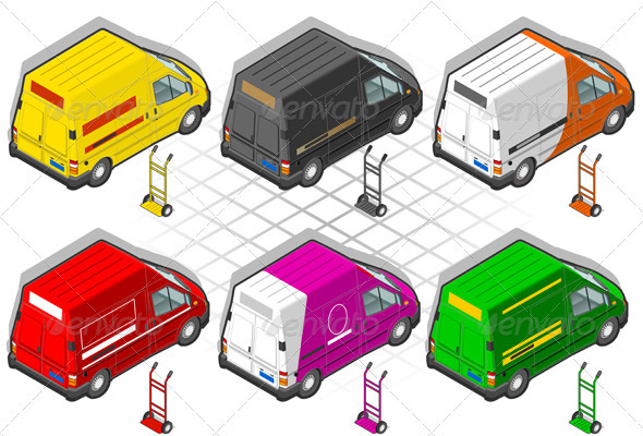 Isometric Delivery Truck in Six Livery - Miscellaneous Vectors