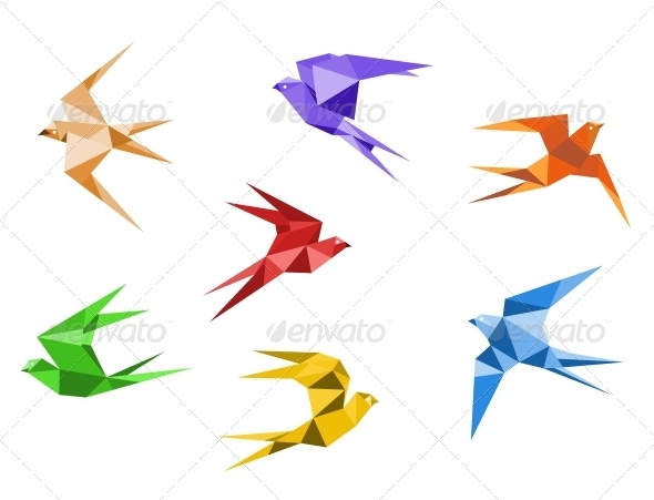 Origami swallows - Animals Characters